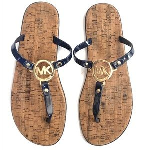 10 Michael Kors MK Jelly Cork PVC Sandals Navy